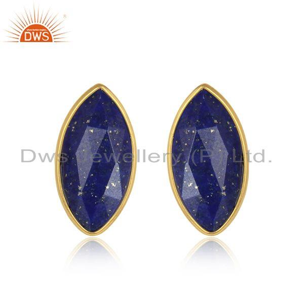 Lapis lazuli gemstone gold plated designer silver stud earrings