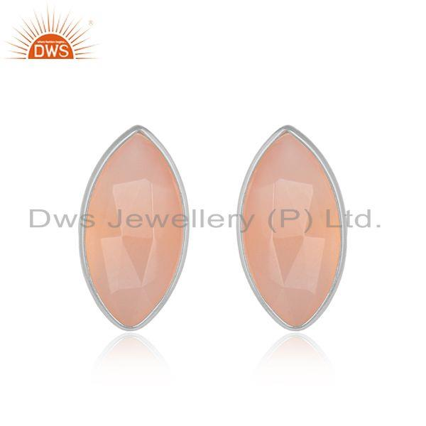 Marquise rose chalcedony gemstone 925 fine silver stud earrings