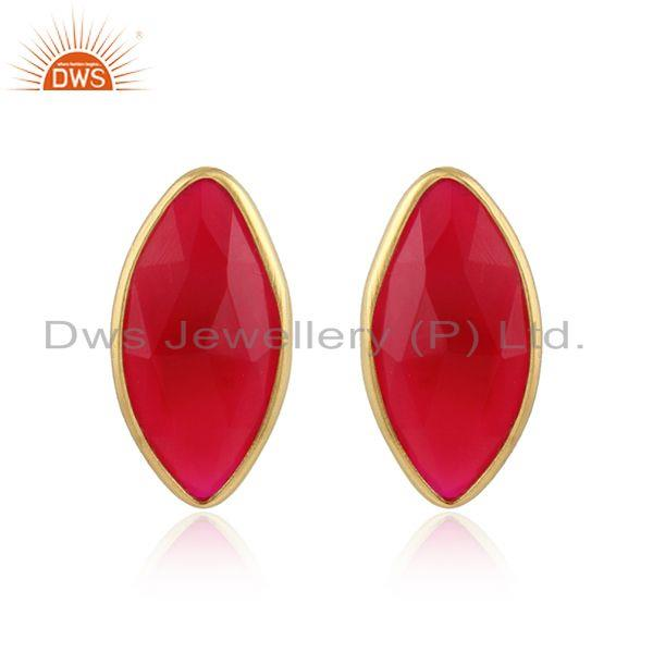 Pink Chalcedony Gemstone Designer Gold Plated Silver Stud Earrings