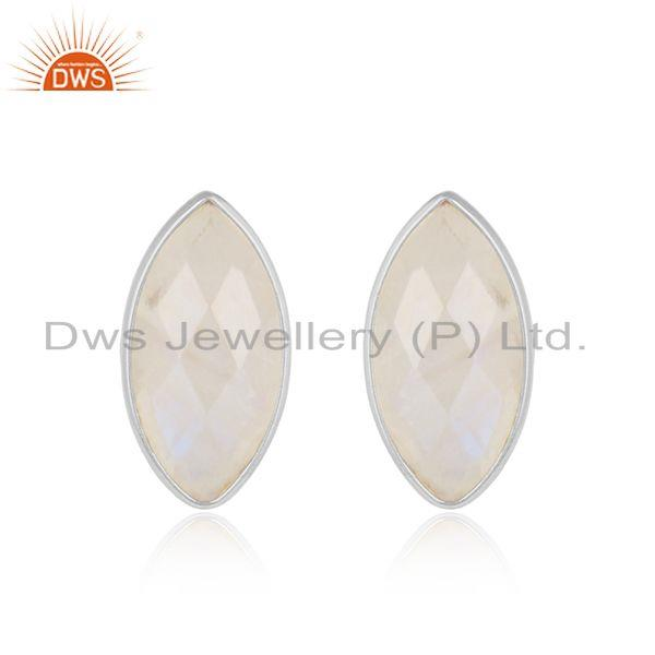 Rainbow moonstone gemstone handmade sterling silver stud earring