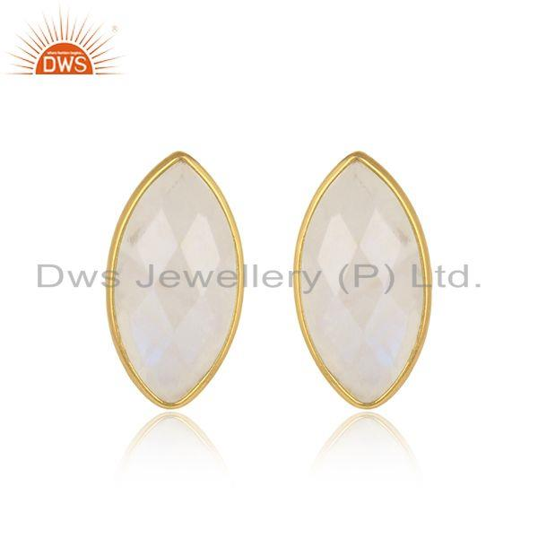 Designer Moonstone Gemstone 18k Gold Plated Silver Stud Earrings