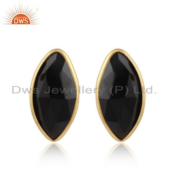 Black onyx gemstone designer gold on silver womens stud earring