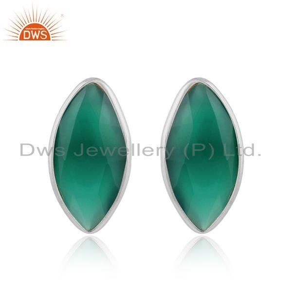 Green onyx gemstone designer sterling fine silver stud earrings