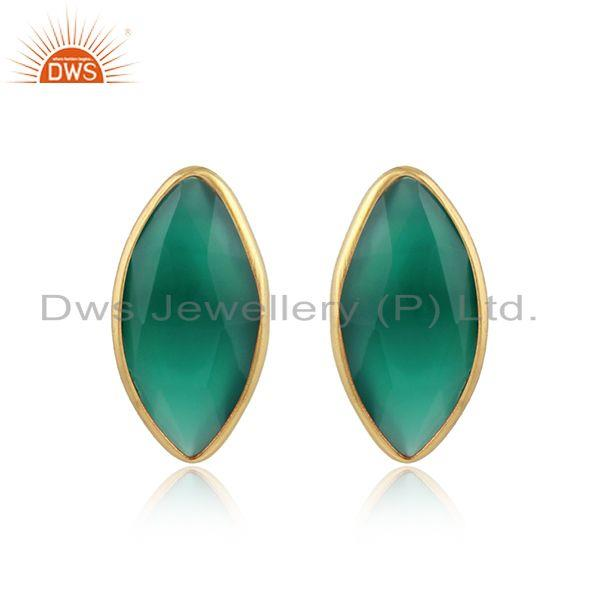 Green Onyx Gemstone Designer Sterling Silver Gold Plated Stud Earrings