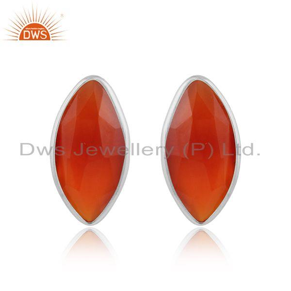 Red Onyx Gemstone New Sterling Fine Silver Designer Stud Earring