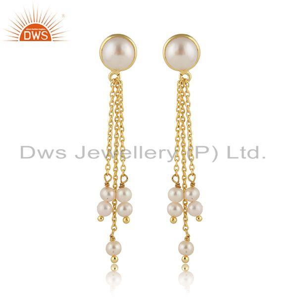 Pearl Gemstone Gold Plated Designer Silver Chain Drop Earrings