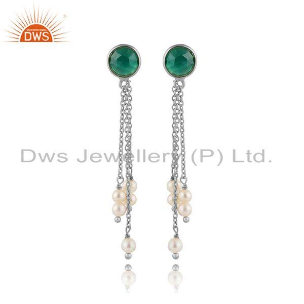 Chain Drop Design 925 Silver Green Onyx Pearl Gemstone Earrings