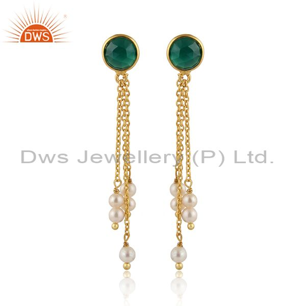 Green onyx pearl gemstone gold plated chain drop earrings jewelry
