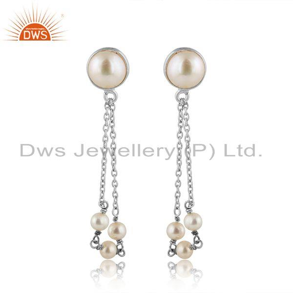 Natural Pearl Gemstone Designer 925 Fine Silver Chain Earrings