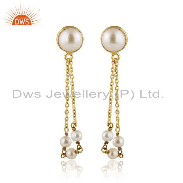 Designer Gold Plated 925 Silver Chain With Natural Pearl Earrings