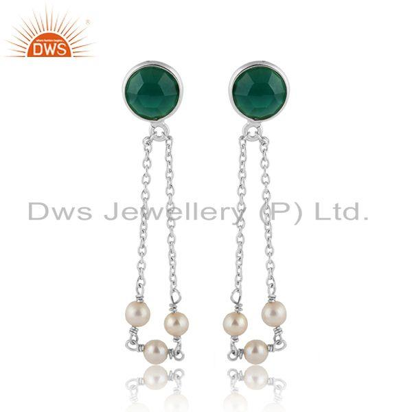 Fine Silver Natural Pearl and Green Onyx Gemstone Chain Earrings