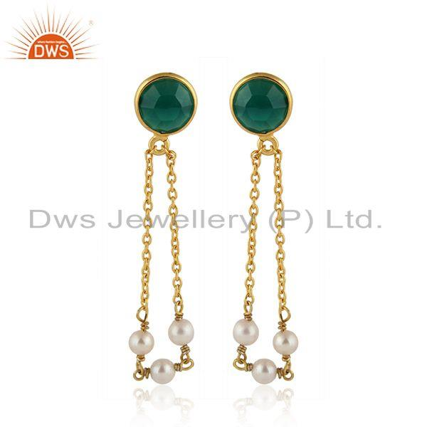 Pearl Green Onyx Gold Plated Designer Silver Chain Drop Earrings