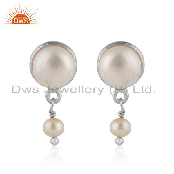 Designer 925 sterling fine silver pearl gemstone drop earrings
