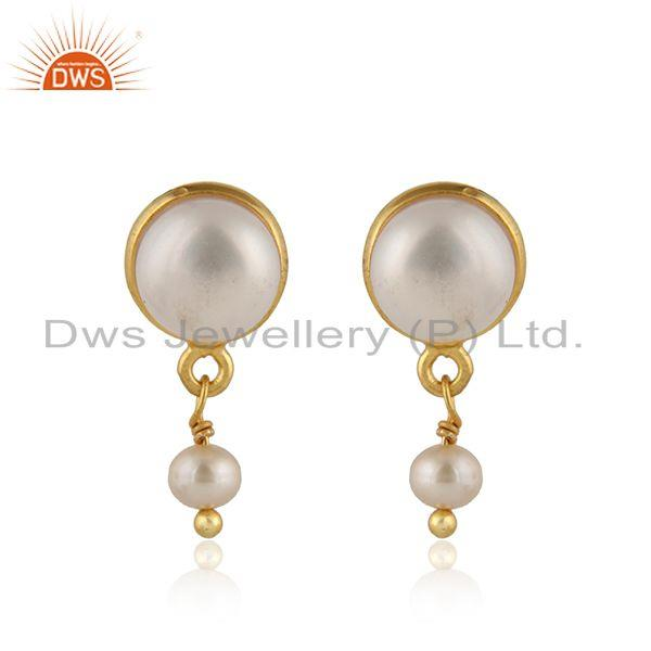 18k gold plated 925 silver natural pearl gemstone dangle earrings