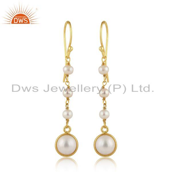 Pearl Gemstone Designer Gold Plated Silver Dangle Drop Earrings