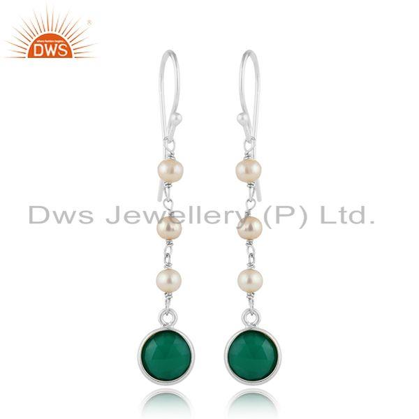925 Fine Silver Natural Pearl Green Onyx Gemstone Dangle Earrings