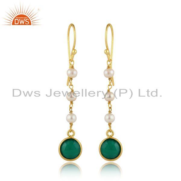 Pearl Green Onyx Gemstone Gold Plated Silver Dangle Earrings