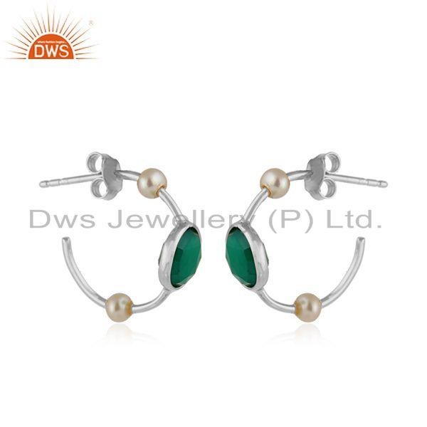 925 fine silver designer green onyx pearl gemstone hoop earrings