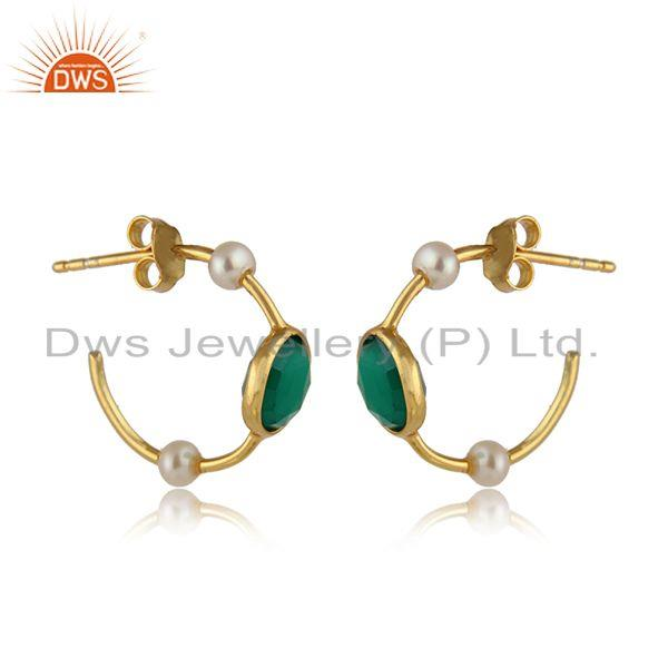 Green onyx pearl gemstone gold plated designer silver earrings