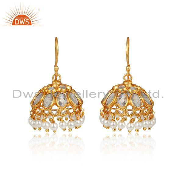 Designer Traditional Jhumka in Gold on Silver 925 With Pearls