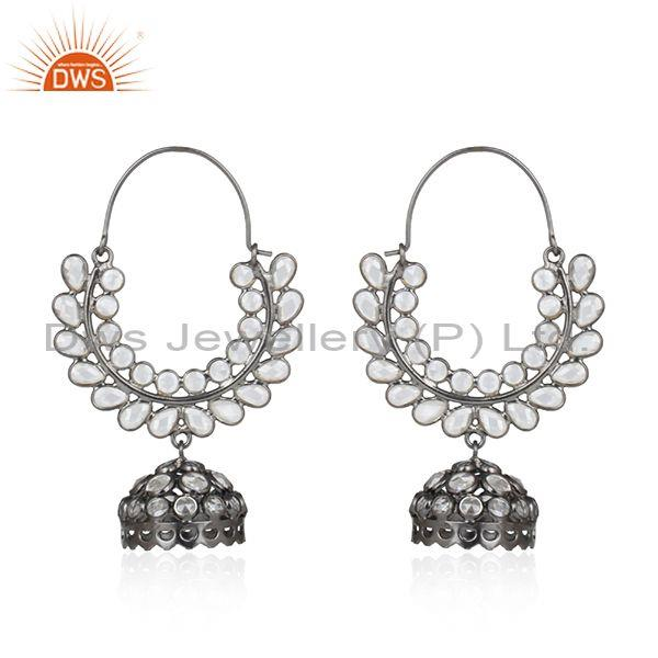 Handmade Traditional Black Rhodium on Silver 925 Cz Earring