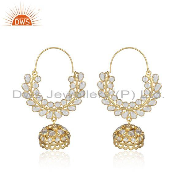 Handmade Traditional Gold on Silver 925 Jhumka Cz Earring