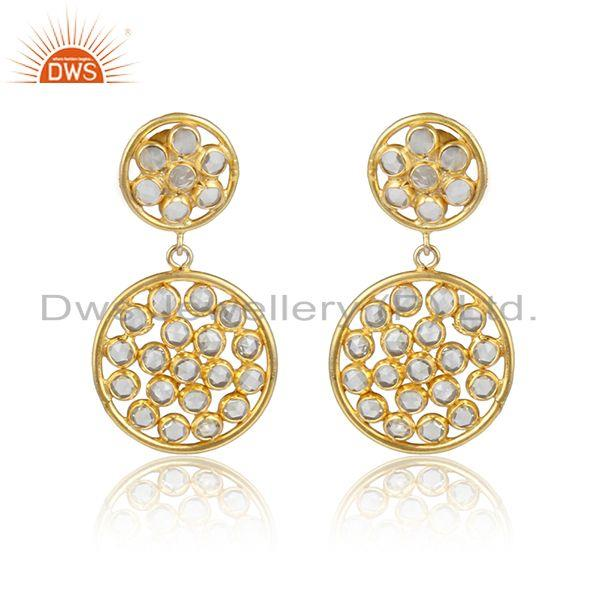 Designer Gold Plated 925 Silver Earrings with White Zircon Gemstone