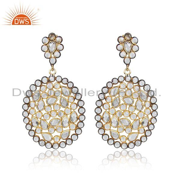 Designer Gold Plated 925 Silver White Zircon Gemstone Earrings