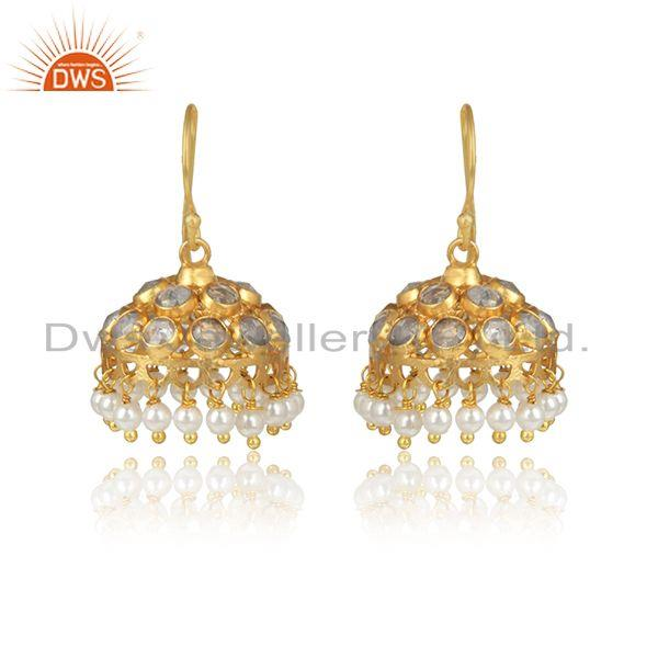 Cz pearl gemstone gold plated designer 925 silver jhumka earrings