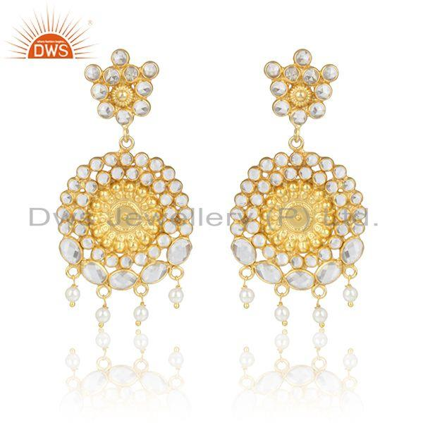 Designer floral large earring in yellow gold on silver and pearl