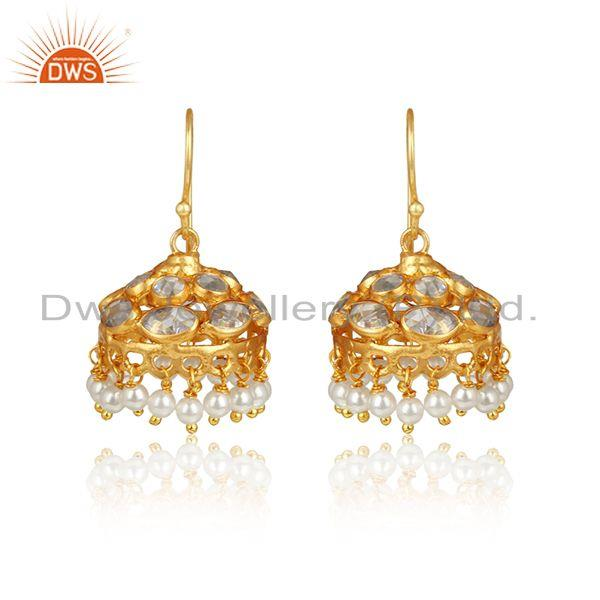 Traditional Style Yellow Gold on Silver 925 Jhumka With Pearl Beads