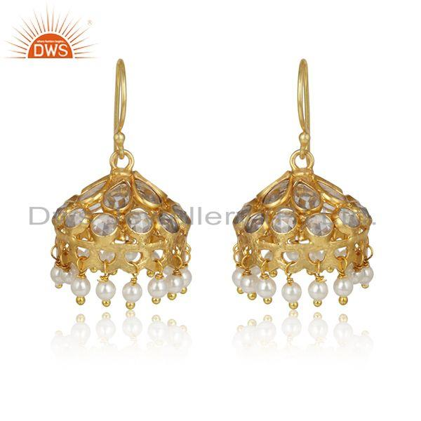 Handcrafted Traditional design Gold on Silver Jhumka with Pearls