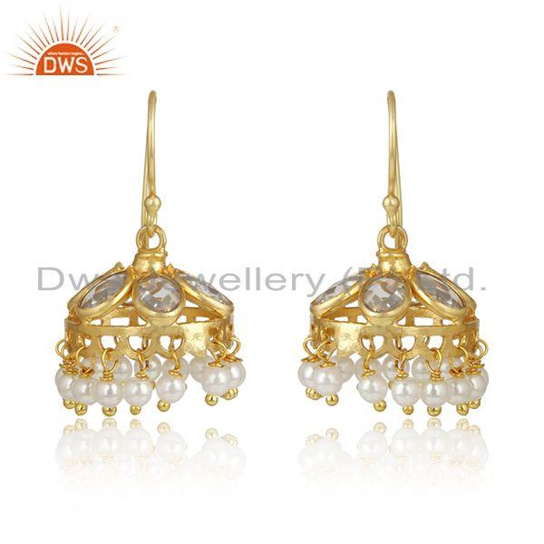 Designer Traditional Jhumka in Yellow Gold on Silver With Pearls
