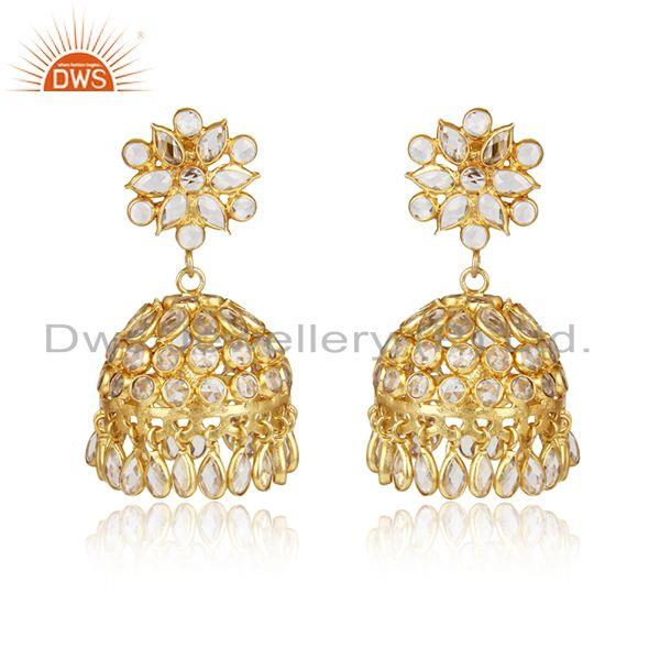 Traditional Design Jhumka in Yellow Gold on Silver 925 and Cz