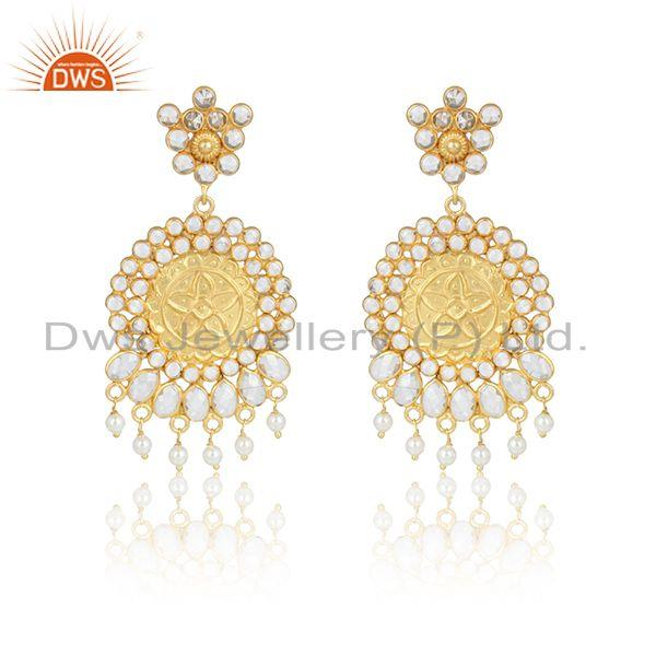 Artisan Traditional Pearl Bead Cz Earring in Yellow Gold on Silver