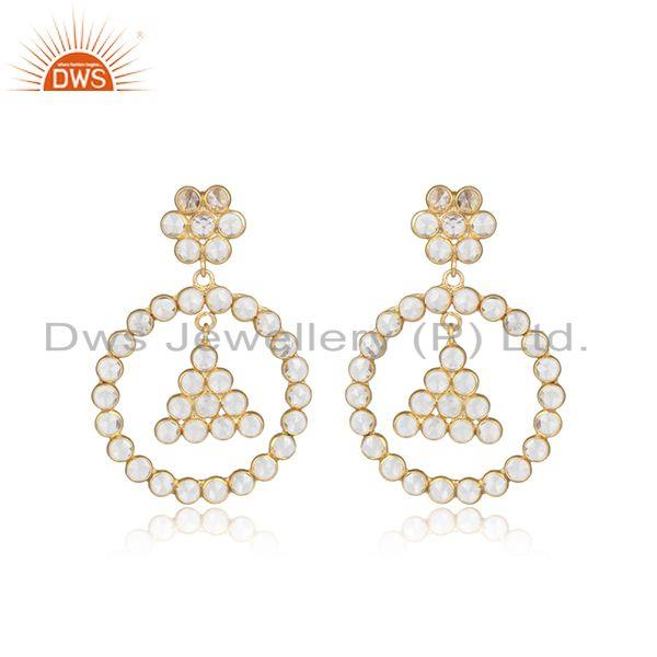 Floral round design gold plated 925 silver white zircon earrings