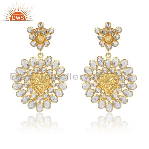 Traditional Handmade Cz Bold Earring in Yellow Gold on Silver 925