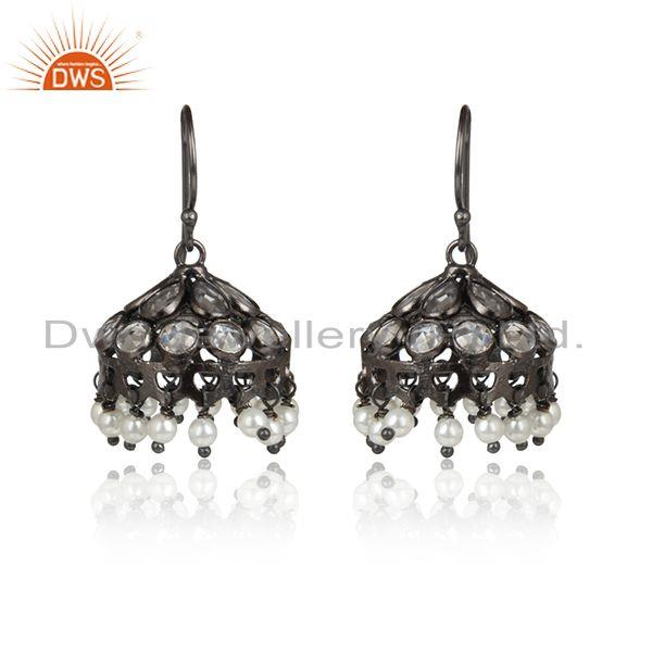 Natural pearl cz gemstone oxidized antique silver jhumka earrings
