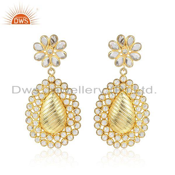 Floral design white zircon 18k gold plated traditional earrings