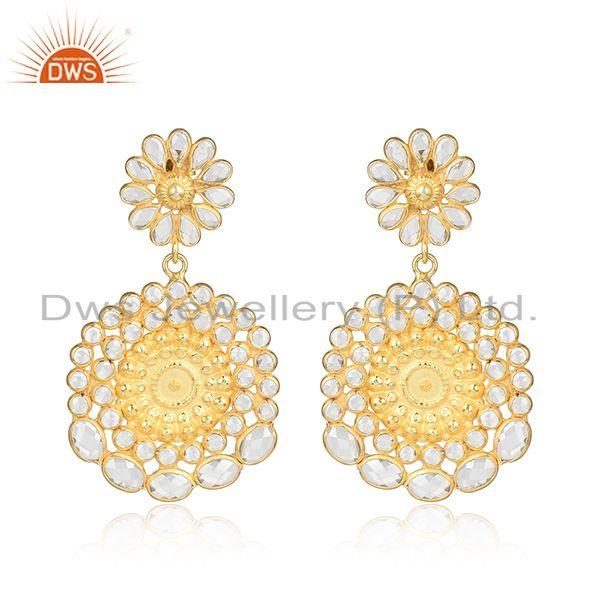 Round flower design gold plated designer 925 silver cz earrings