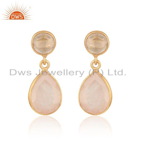 Handmade Dangle Earriing in Yellow Gold On Silver with Rose Quartz