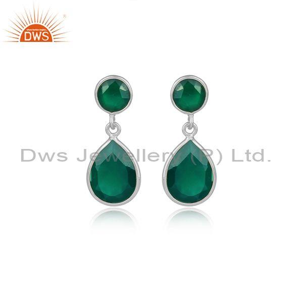 Round And Pear Cut Green Onyx Set Fine 925 Silver Earrings