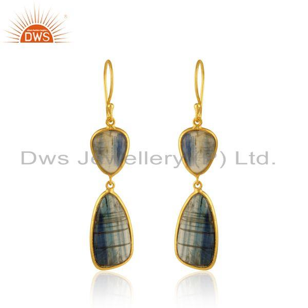 Kyanite Double Drop Dangle Earring in Yellow Gold On Silver 925
