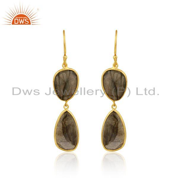 Labradorite Double Drop Dangle Earring in Yellow Gold On Silver