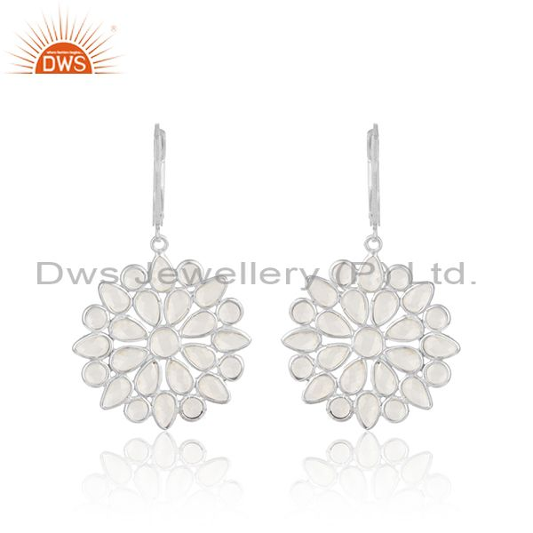 Floral cz cluster dangle earring in silver 925 lever back closure