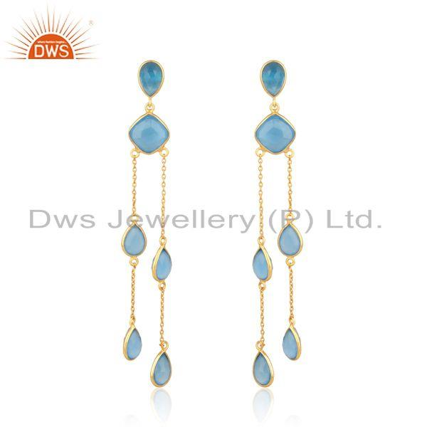 Designer Natural Blue Chalcedony Chandelier in Gold on Silver 925