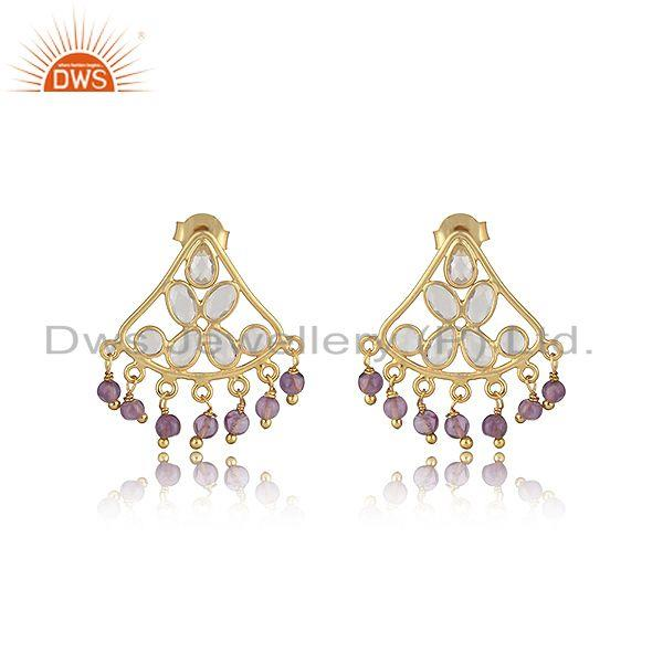 Traditional designer earring in gold on silver with amethyst, cz