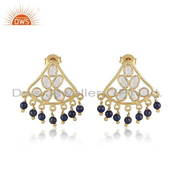 Traditional designer earring in gold on silver with lapis and cz