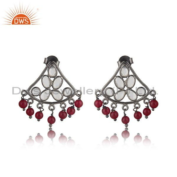 Traditional design red avanturine, cz silver earring in black rhodium