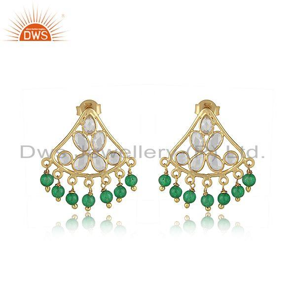 Traditional designer green avanturine, cz earring in gold on silver